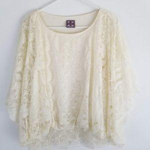 Free People Women's Size M Cream Ivory Boho Floral